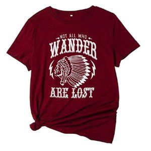 Not All Who Wander Are Lost Red Graphic Tee